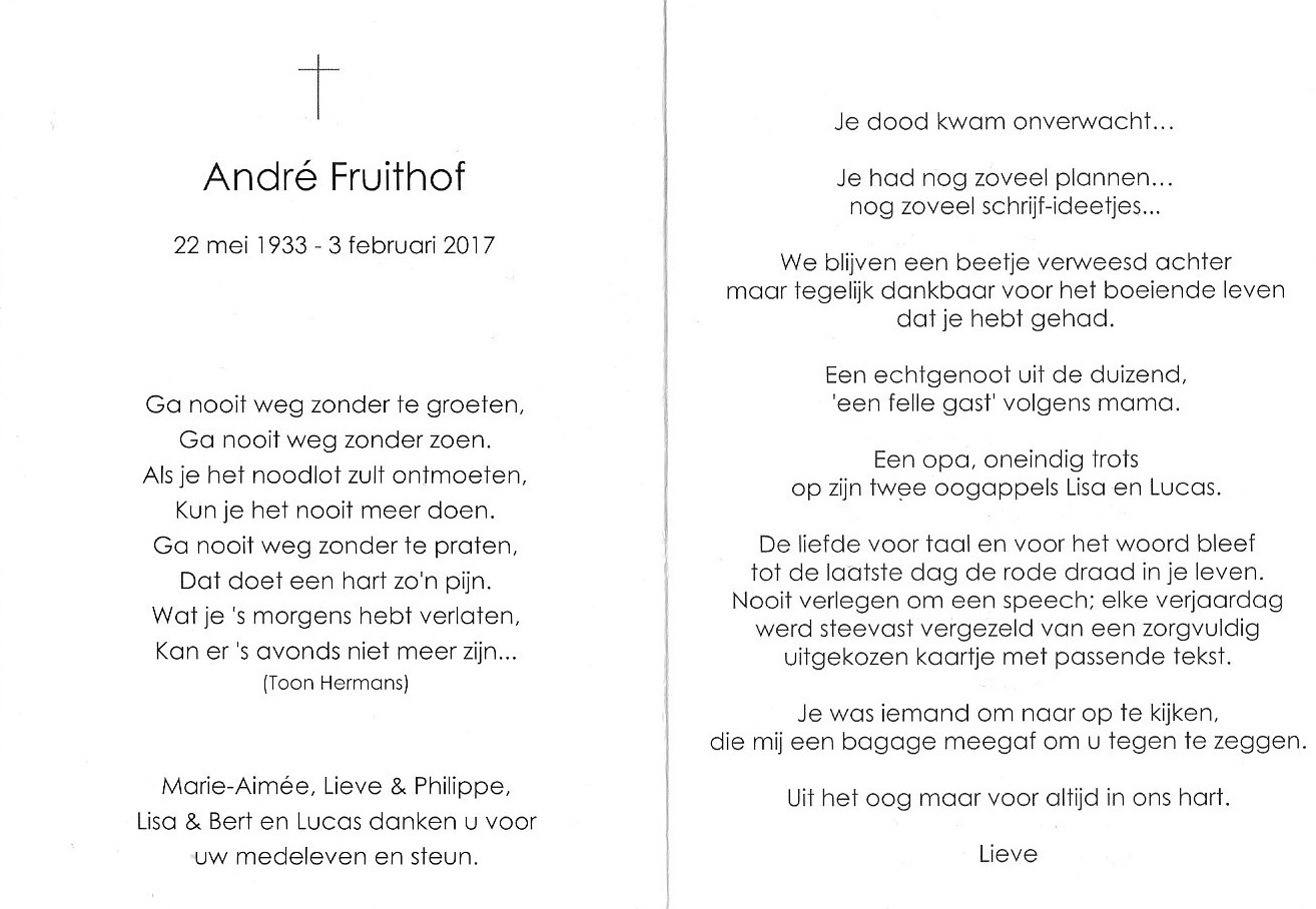 Overlijden André Fruithof